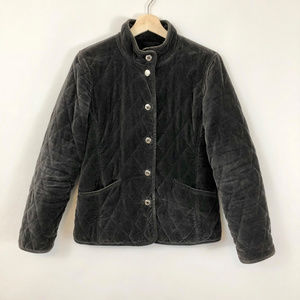 Coach Velvet Grey Quilted Jacket, Size Small